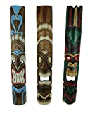 Polynesian Style Primitive Stained Hand Carved Tiki Masks 11 in. Set of 3