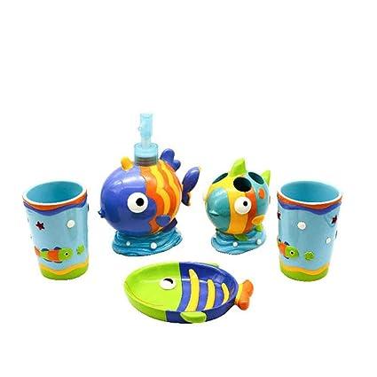 ZQYY® Juego de Accesorios para Baño,Productos Infantiles 5Piezas,Porta Cepillos de Dientes