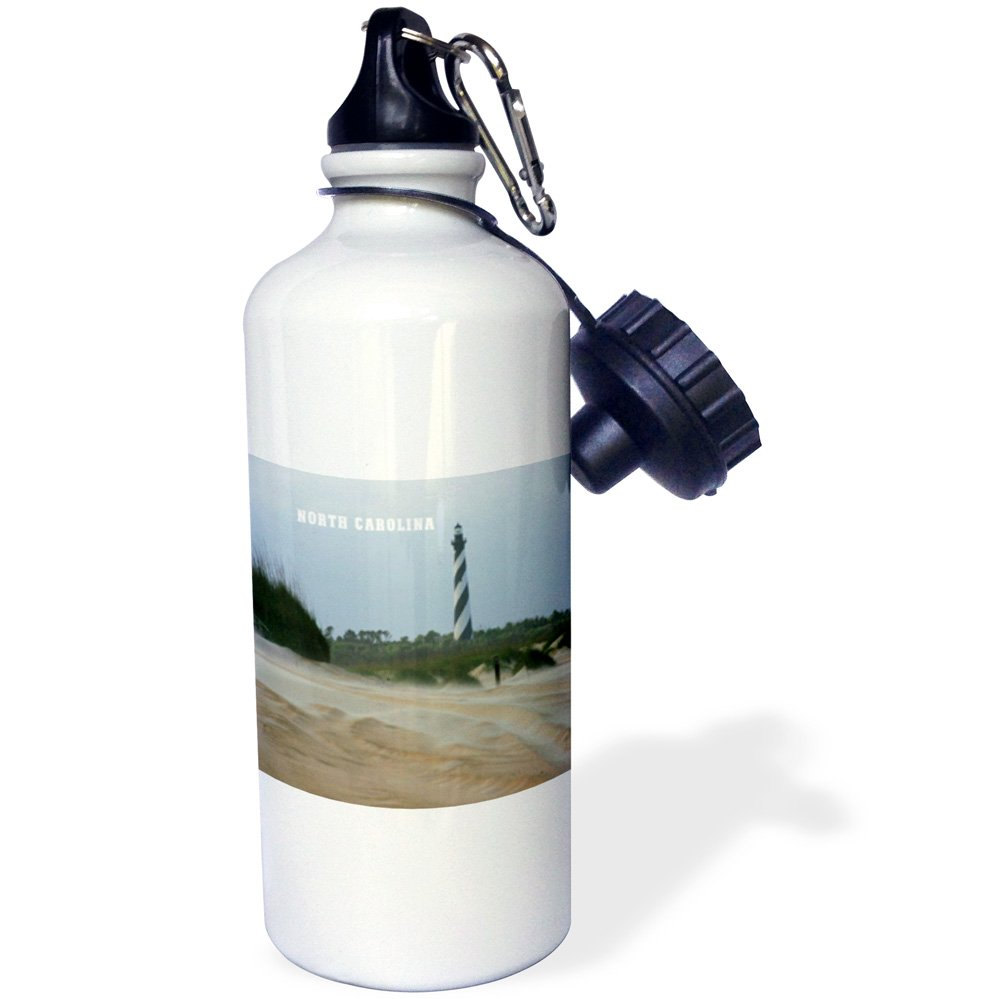White 3dRose wb/_80422/_1View of Cape Hatteras Lighthouse On Outer Banks Sports Water Bottle 21 oz