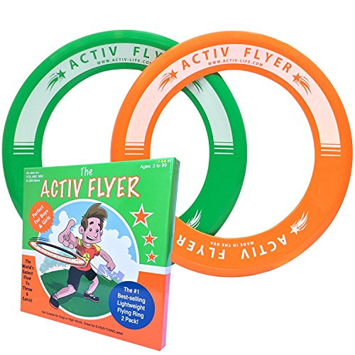 Price comparison product image Super Fun Toys for Boys & Girls - Best Kids Frisbee Rings [2 PACK] Cool Christmas Gifts & Birthday Presents - Play Ultimate Outdoor Games at Beach Pool School Park - Made in USA! (Green & Orange)