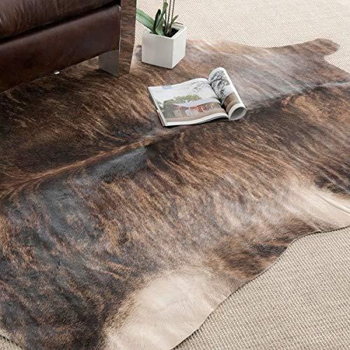 Brown Leather Rug - Handpicked Hacienda Argentinian Brown Black Cowhide Leather Rug (6' x 6)