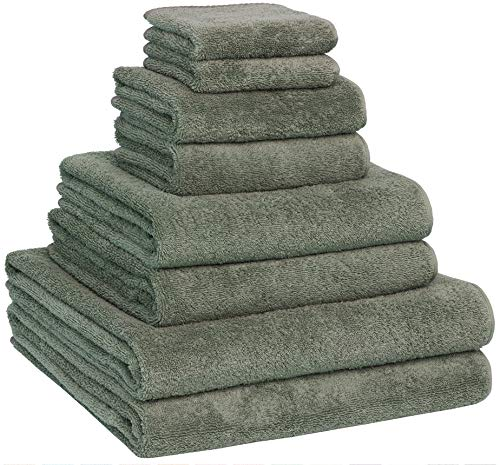 Luxury Extra Large 8-Piece Turkish Towel Set with 4 Bath Towels (30x60 and 24X48) - Dark Green