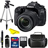 Canon EOS 80D DSLR Camera with 18-135mm Lens + 50 Tripod + 64B Memory Card + BuzzPro Kit