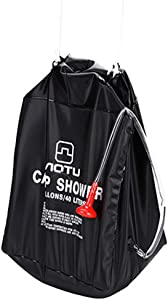 CakeLY Solar Shower Bag, 40L Solar Heating Premium Camping Shower Bag Hot Water with Temperature Removable Hose on/Off Switchable Shower Head Hiking Climbing Summer Shower