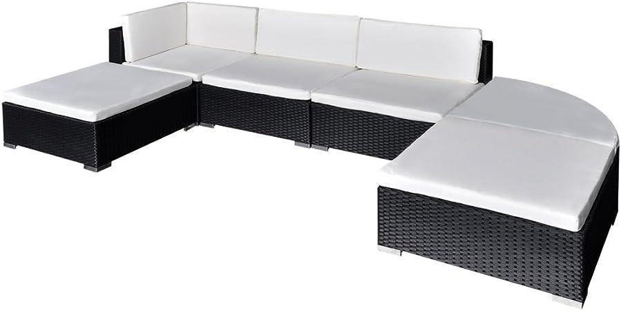 Festnight 16 piezas Conjunto de Mueble de Poli Ratán para el Jardín Piscina Patio Set de Muebles Color Opcional(Marrón/Negro): Amazon.es: Hogar