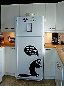 (47 x 60 cm) vinilos nevera TecGadgets gato hambriento electek/Kitty con mensaje pidiendo comer arte decoración wallkraft/refrigerador twistfix Mural + ...