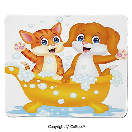 Non-Slip Rubber Base Mousepad,Cartoon Style Cute Cat and Dog in Bathtub Together with Bubbles Water Splash,for Computer,Laptop,Home,Office & Travel(15.74
