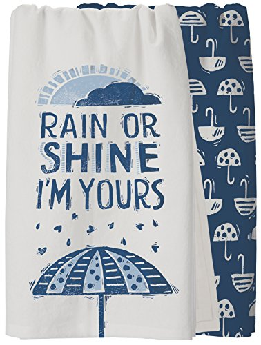 Primitives by Kathy Rain or Shine I'm Yours Kitchen Towels Set of 2, 100% Cotton Block Printed Dish Towels with Heart Shaped Raindrops and Umbrella Patterns, 28