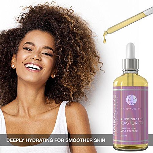 Hairworthy - Aceite de Castor 100% Puro, Orgánico, Prensado En Frío y Natural para un Crecimiento De Cabello, Pestañas Y Cejas Instantáneo.