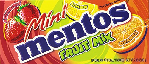 Mini Mentos Chewy Mint Candy Theater Box, Fruit, 2.82 ounces/40 pieces (Pack of - Box Gum Tin