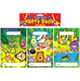 Pack Of 12 Jungle Party Bags 15x22cm (3 Assorted Designs)