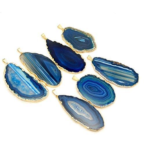 1 Blue Agate Pendant Plated with 24k Gold Edge Rock Paradise Exclusive COA AM8B9-01 (Agate Brazil Blue)