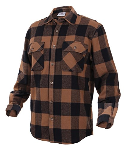Brawny Flannel Shirt - Rothco Heavy Weight Brawny Flannel Shirt, Brown, 4X- Large