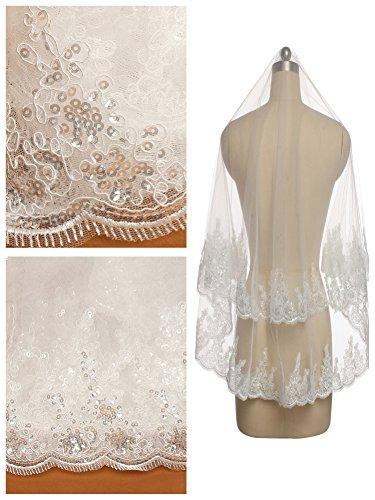 Passat Ivory Filigree Lace and Sequin Applique Two Tier Veil Custom Bridal Veil H80 (Filigree Applique)