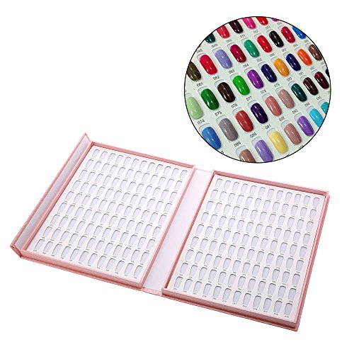 (Anself Professional 120 Colors Nail Gel Polish Display Chart Nail Polish Color Card with Tips Pink)