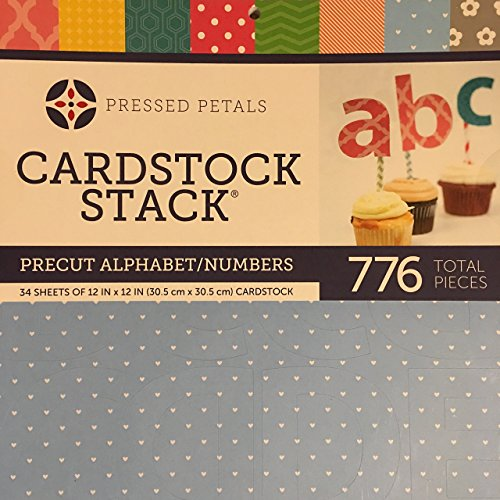 Alphabet Paper Stack (Card Stock Stack - Precut Alphabet / Numbers (34 Sheets Of 12 In x 12 In / 30.5cm x 30.5 cm) Cardstock - 776 Total Pieces - 3 DifferentSized Included)
