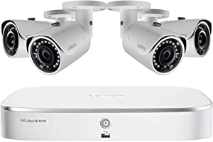 Lorex Weatherproof Indoor/Outdoor Wired Home Surveillance Security System, 4 x 2K Ultra HD Cameras w/Night Vision & Smart Home Compatibility –Incl. 1TB 8 Channel 4K NVR