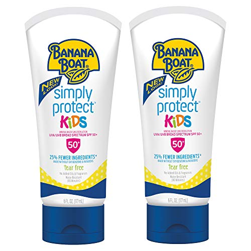 Banana Boat Simply Protect Kids Tear-Free, Broad Spectrum Sunscreen Lotion, SPF 50, 6 oz - Twin Pack