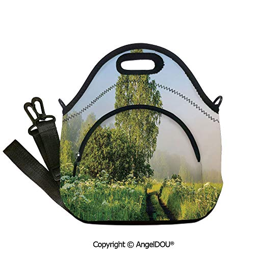 - AngelDOU Nature Decor waterproof insulation portable lunch box bag Beautiful Serenity Trees Track Path Garden Leaves and Grass Sunny Skies Photography for Students Office Worker.12.6x12.6x6.3(inch)