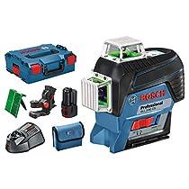 Bosch Professional GLL 3-80 CG - Nivel láser (1 batería 12V x 2,0 Ah, alcance 120 m, 3 líneas 360º, láser verde, en L-BOXX)