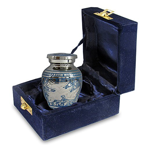 (Wings of Love Small Keepsake Urn for Human Ashes - Qnty 1 - Beautiful and Timeless Find Comfort Everytime You Look at This Mini High Quality Cremation Urn - with Velvet Case)