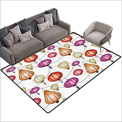 Floor mats for Kids Lantern Decor Collection,Colorful Chinese Lanterns Sky Decorative Ornemental Original Design Happiness,Purple Red Orange 36