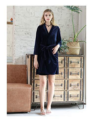 Fashion Accappatoio navy WEII Caldo Sexy E Autunno Home Abbigliamento L'Inverno Abito Punti Maniche Nove Pigiama Casual blu Di Donne UgUHPxqO