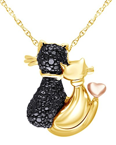 Wishrocks 14K Yellow Gold Over Two Tone Sterling Silver Black Natural Diamond Accent Loving Cats Pendant Necklace
