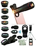 Cell Phone Camera Lens Kit,15 in 1 Universal 22x Zoom Telephoto,0.63Wide Angle+15X Macro+198°Fisheye+2X Telephoto+Kaleidoscope+CPL/Starlight/Eyemask/Tripod/Remote Shutter,For Iphone Smartphone (black)