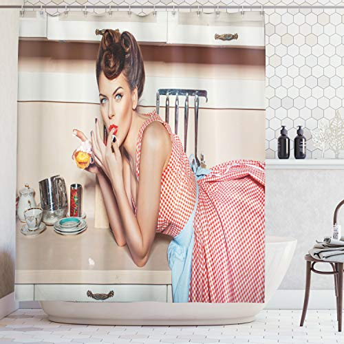 Ambesonne Pin up Girl Shower Curtain, Blue Eyed Girl Eating Cake and Licking Her Fingers with Victory Rolled Hairs, Cloth Fabric Bathroom Decor Set with Hooks, 70 Inches, Multicolor