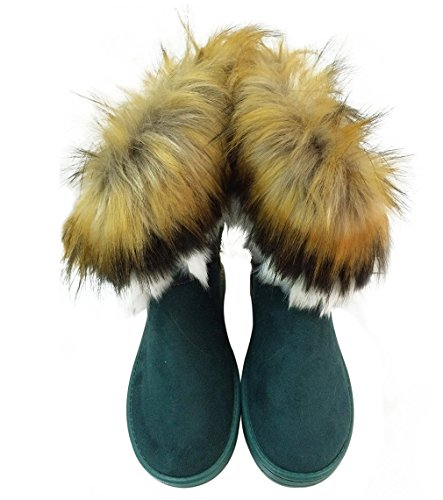 Womens Snow Boots Winter Ankle Boot Booties Fox Rabbit Fur Fringe Shoes Green Size 6.5 6 - Indian Fringe Boot