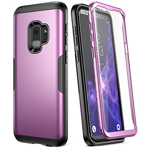 Galaxy S9 Case, YOUMAKER Metallic Purple with Built-in Screen Protector Heavy Duty Protection Shockproof Slim Fit Full Body Case Cover for Samsung Galaxy S9 5.8 inch (2018) - - Pull Case Apart