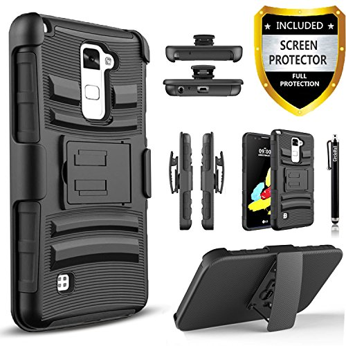 LG Stylo 2 Plus Case, LG Stylus 2 Plus Case, Combo Shell Cover Kickstand with Built-in Holster Locking Belt Clip+Circle(TM)Touch Screen Pen And Screen Protector-Black
