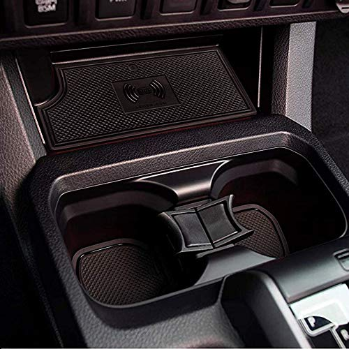MagicCar Custom Fit Cup, Door Center Console Liner Insert Accessories for Toyota Tacoma 2019 2018 2017 2016 18PC Set (Solid Black) (Custom Tacoma)