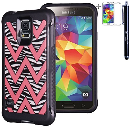 Samsung Galaxy S5 Case, True Color Pink Chevron on Zebra Emboss Printed Impact Resistant TPU Protective Anti-slip Grip Snap-On Soft Rugged Cover for