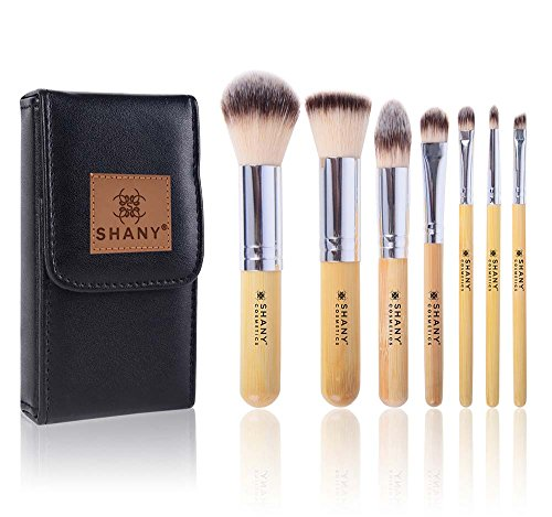 SHANY 7 Piece Petite Pro Bamboo Brush Set with Carrying Case, I Love Bamboo