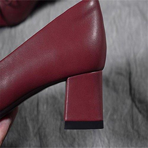 di scarpe femminili scarpe da scarpe da da 37 Scarpette rosso scarpe alto Qiqi damigella tacco spessore vino col donna Farfalla femminile punta sposa a quadrata con Xue con xq17SAAw