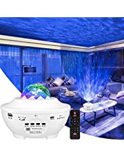 Star Projector light, Galaxy projector 6 in 1 Ocean Wave Projector Star Sky Night Light w/LED Nebula Cloud with Bluetooth Music Speaker & Timer Function for Baby Kids Children Bedroom/Game Rooms/Home Theatre/Room Decor/Night Light Ambiance/Christmas Gift