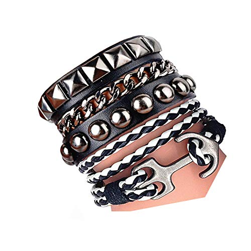 - Y-blue Multicolor Punk Style Genuine Leather Studs Stretch Bracelets Father's Gift 6 Color Black&White