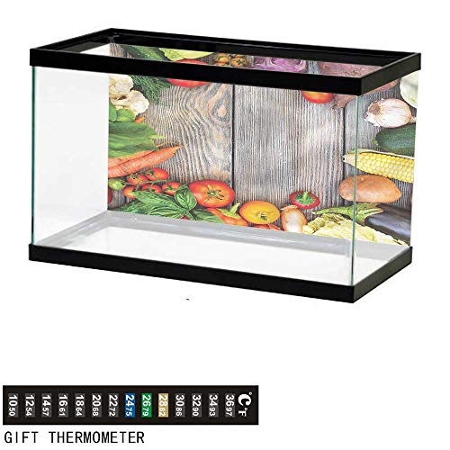 bybyhome Fish Tank Backdrop Food,Vegetables on a Wooden Table,Aquarium Background,24