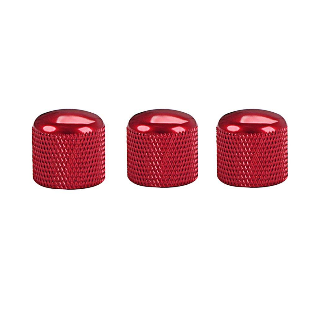 SUPVOX 3pcs manopole per amplificatore di controllo a pedale effetto metallo per basso elettrico (rosso) 0812510UR9