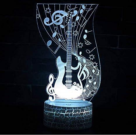 Luz Nocturna 3D LED Nueva Guitarra Eléctrica Sensor De Lámpara Lámpara 3D Usb Nightlight Colorido Led Iluminación Decorativa Lámpara Táctil Regalo De ...