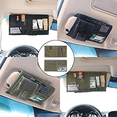 LIVIQILY Tactical Molle Vehicle Visor Panel Car Sun Visor Organizer Holder Storage Bag Pouch for Most Vehicle (Army Green): Electronics