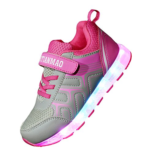 Price comparison product image Ausom New Kids Boys Girls USB Charging LED Light Up Luminous Casual Shoes Flashing Fashion Sneakers