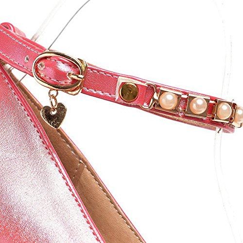 Balamasa Damene Perle Metall Ornament Chunky Hæler Imiterte Skinn Pumper-sko Røde