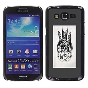 Caucho caso de Shell duro de la cubierta de accesorios de protección BY RAYDREAMMM - Samsung Galaxy Grand 2 SM-G7102 SM-G7105 - Drawing Ink Pencil Black