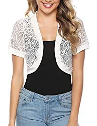 7a2bf42f1abad1 Women Short Sleeve Floral Lace Shrug Open Front Bolero Cardigan