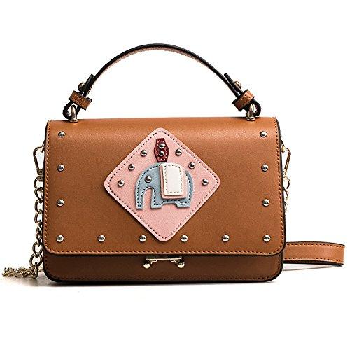 Bolso de mensajero retro de la nueva bolsa de mano Bolso de hombro de la moda Bolsos de cuero Bolsos con asa superior Niñas Brown