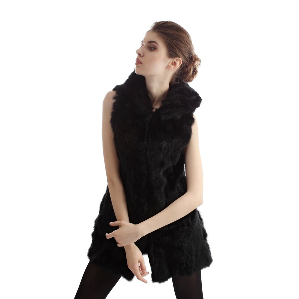 OLLEBOBO Women's Genuine Rabbit Fur Knitted Vest without Belt