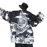 Men Japanese Yukata Coat Kimono Outwear Vintage Loose Top Dragon